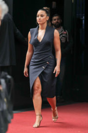 Demi Lovato shows off Her Legs in Dress Leaves Her Hotel in New York