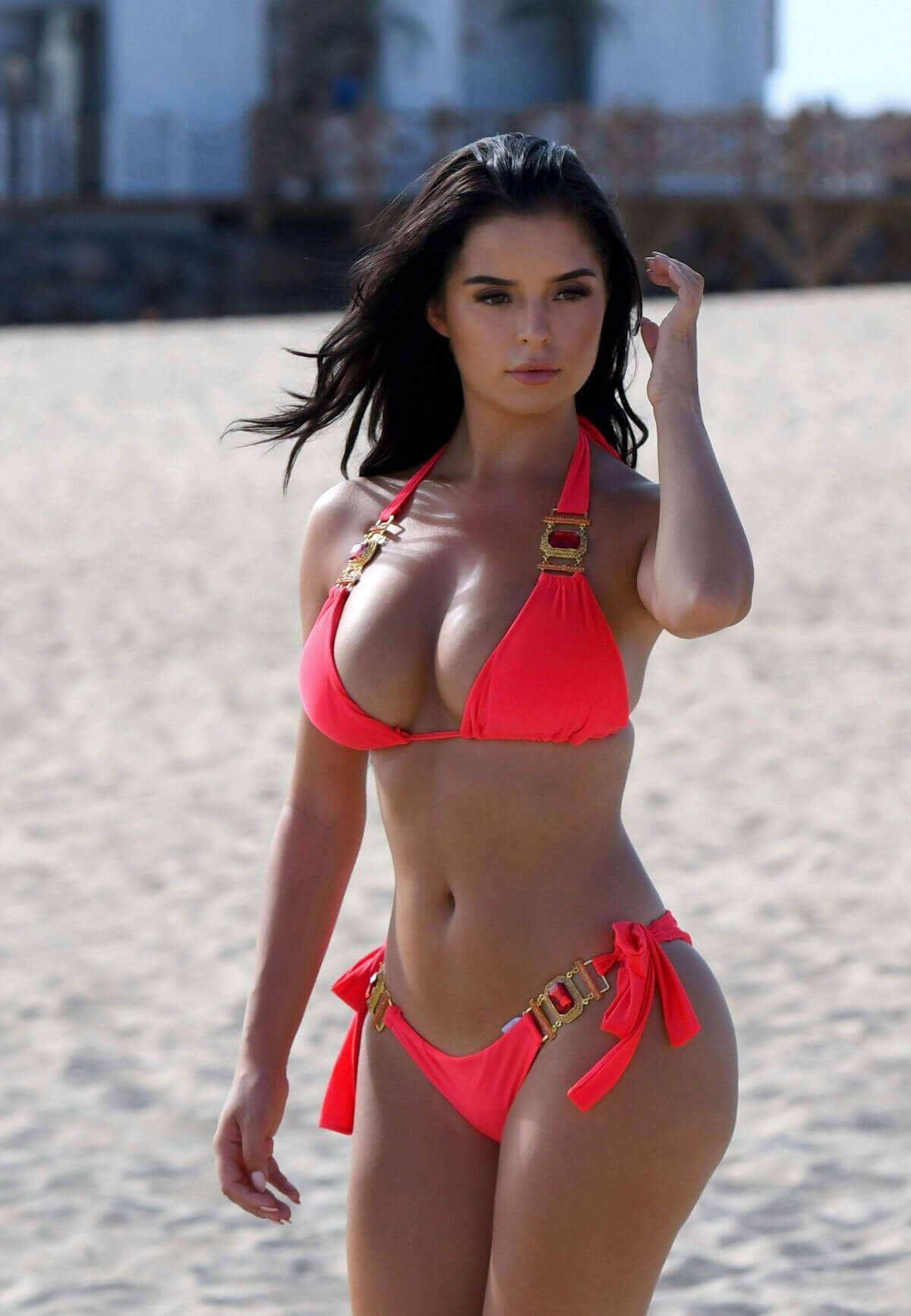 Demi Rose wears Red Bikini Photos in Cape Verde