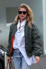 Doutzen Kroes wears White Shirt & Jeans Out and About in London
