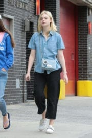 Elle Fanning with Her Mother Heather Joy Arrington Stills Out in New York