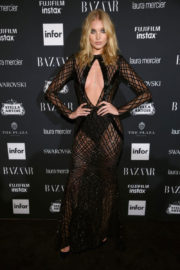 Elsa Hosk shows off cleavage at Harper's Bazaar Icons Party in New York