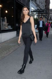 Emily Canham wears all in black at Voxi Launch Party in London