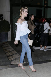 Emma Roberts wears off shoulder white blouse leaves her hotel in New York