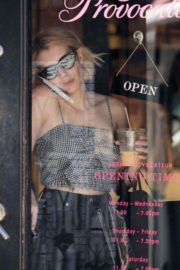 Emma Roberts wears Tank Top & Black Jeans Out Shopping in New York