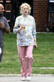 Emma Stone wears Printed Shirt and Reddish Light Pants on the Set of Maniac in New York