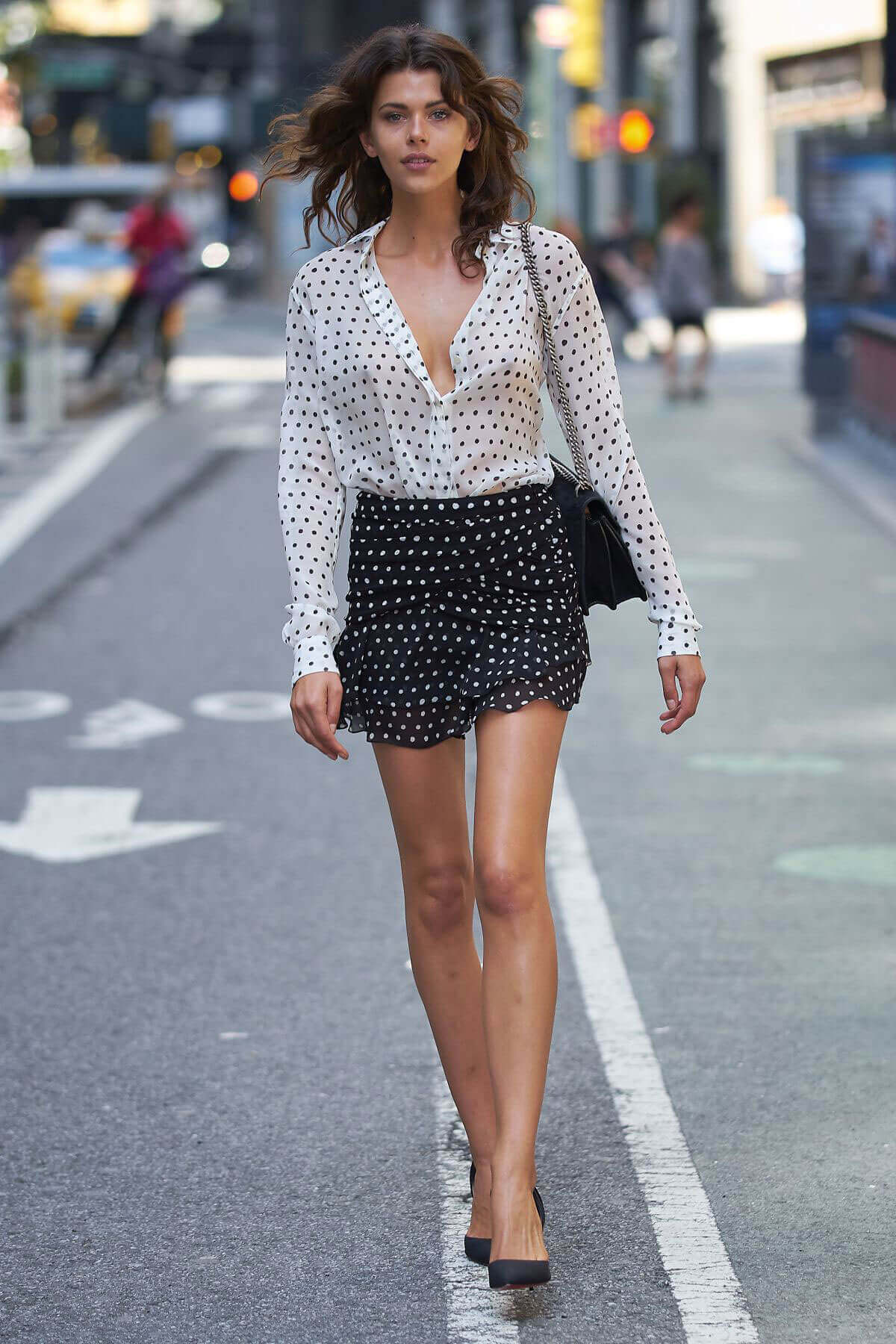 Georgia Fowler shows off legs at Fittings for Victoria's Secret Fashion Show in New York