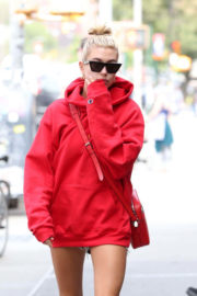 Hailey Baldwin in Oversized Red Hoodie Out in New York