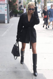 Hailey Baldwin shows off legs in Short Dress Leaves Her Hotel in New York