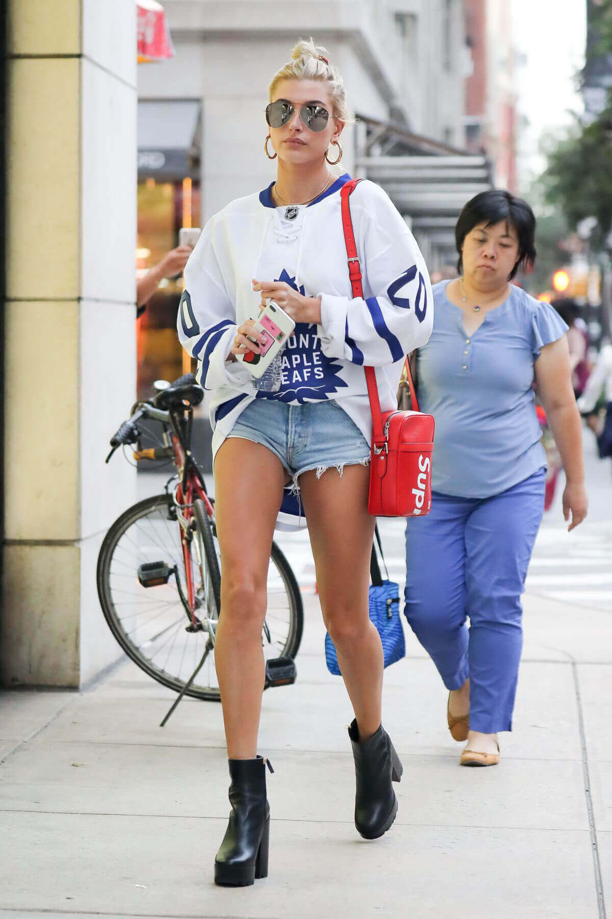 Hailey Baldwin shows off legs Out and About in New York