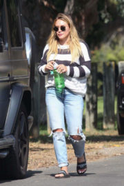 Hilary Duff wears Black & White Sweater Out in Los Angeles