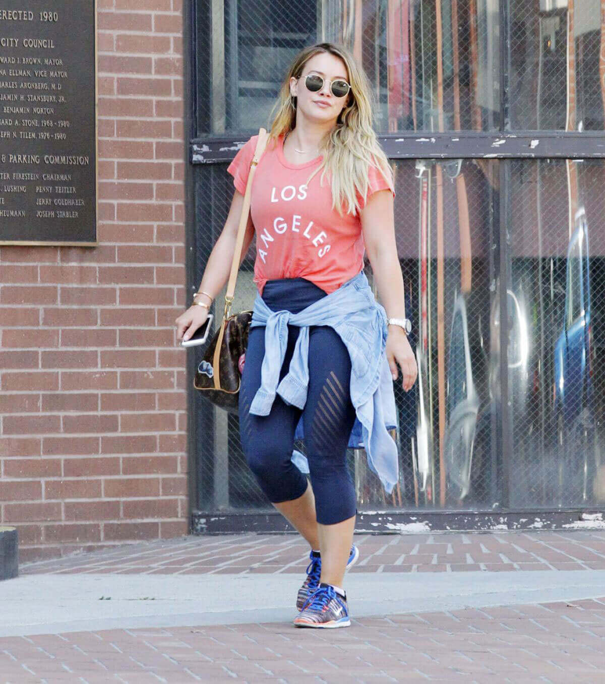 """Hilary Duff wears """"Los Angeles"""" Slogan Top Out in Beverly Hills"""