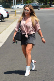 Hilary Duff wears short jeans skirt leaves a Salon in West Hollywood