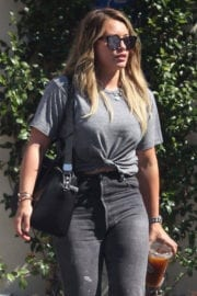Hilary Duff wears tshirt and black jeans leaving a meeting in Los Angeles