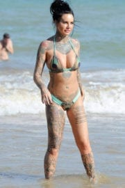 Jemma Lucy shows off bum after surgery in bikini at a beach in Spain