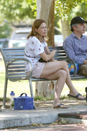 Jenna Fischer eats Ice-Cream at a Local Park in Los Angeles