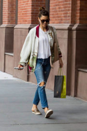 Jessica Biel wears Ripped Jeans Stills Out in New York