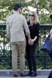 Jessica Chastain with Her Husband Stills Out and About in Quebec City