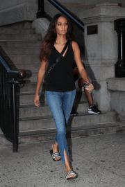 Joan Smalls wears Black Top & Jeans Night Out in New York