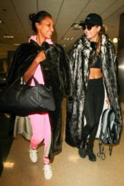 Josephine Skriver and Jasmine Tookes Stills at LAX Airport in Los Angeles