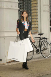 Kaia Gerber wears Pepsi racing jacket out shopping in New York