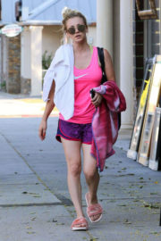 Kaley Cuoco shows off legs in shorts leaves yoga class in Sherman Oaks