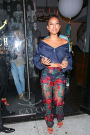 Karrueche Tran shows off Bum in Transparent Pants at Catch LA in West Hollywood