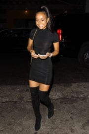 Karrueche Tran wears Long Boots & Shows Off Legs Night Out in Hollywood