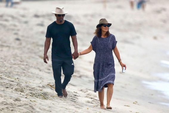 Katie Holmes and Jamie Foxx Stills on the Beach in Malibu