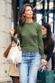 Katie Holmes wears Green Sweater & Jeans Out Shopping in New York