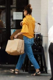 Katie Holmes wears yellow Top & Levis Jeans at Joan's on Third in Studio City