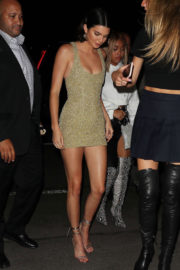 Kendall Jenner shows off slim legs in short dress with Kim Kardashian's Book Launch in New York