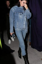 Kendall Jenner wears blue jackets & jeans out in Beverly Hills