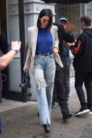 Kendall Jenner wears Ripped Jeans for Tom Ford Fashion Show at New York Fashion Week