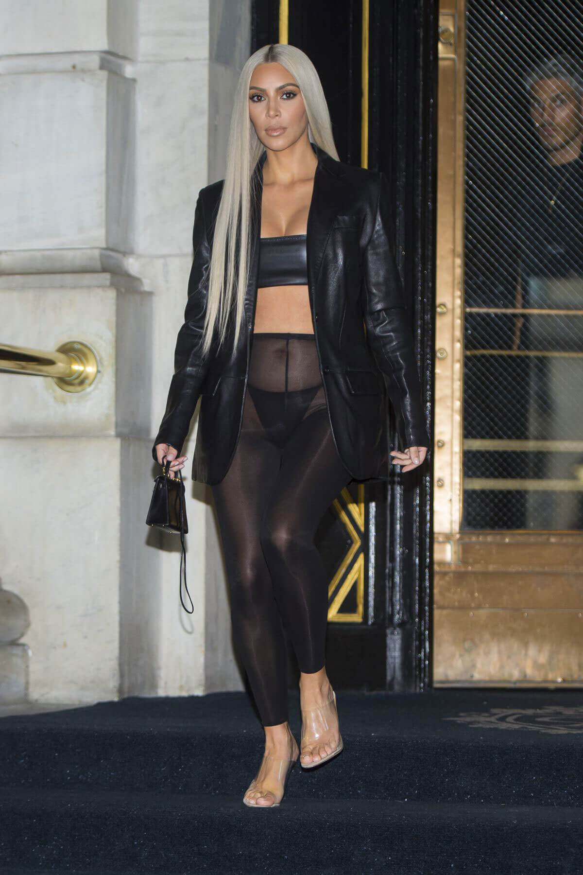 Kim Kardashian Wears Transparent Leggings Out And About In
