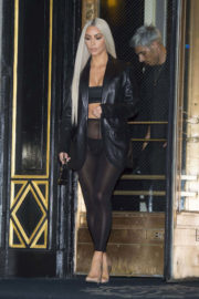 Kim Kardashian wears Transparent Leggings out and about in New York