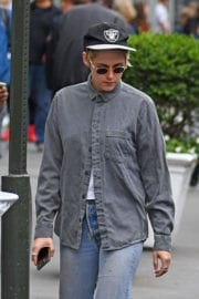 Kristen Stewart wears Shirt and Jeans Out in New York