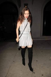 Lily Collins wears Boots & Shows off Legs in Dress at Craig's Restaurant in West Hollywood