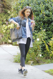 Lily Collins wears denim shirt & tights out in Beverly Hills