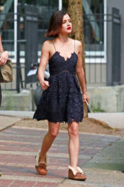 Lucy Hale shows off legs in Short Dress After Breaks for Lunch in Vancouver