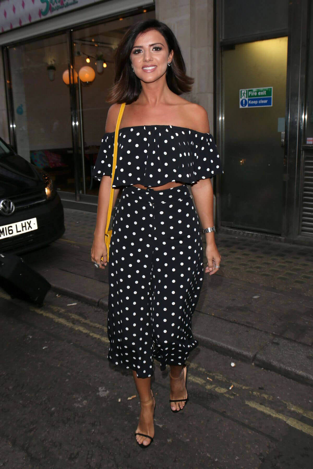 Lucy Mecklenburgh Wears Off Shoulder Dotted Dress Out in London