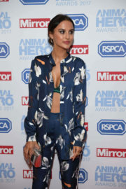 Lucy Watson shows off Sexy Bra in Red Carpet at Animal Hero Awards 2017 in London