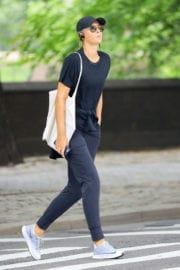 Maria Sharapova wears all in black out in New York