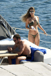 Mario Gotze with Ann-Kathrin Brommel in Bikini at a Yacht in Mallorca