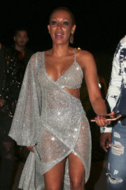 Mel B wears transparent & shows off deep cleavage night out in Los Angeles