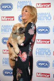 Michelle Collins with Her Dog in Red Carpet at Animal Hero Awards 2017 in London