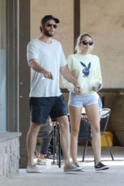 Miley Cyrus wears Playboy Top and Liam Hemsworth Out for Lunch in Malibu