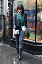 Model Daisy Lowe looking stunning leather jacket & jeans out shopping in London