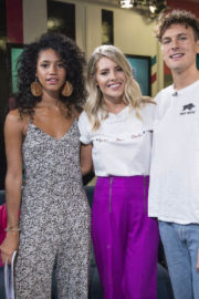 Mollie King wears Purple Pant at Trending Live on 4music in London