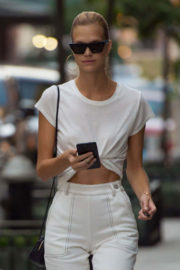 Nadine Leopold Shows off toned abs Out and About in New York
