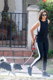 Nina Dobrev Stills Out with Her Dog in Los Angeles